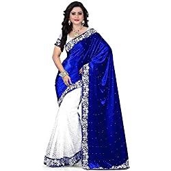 Market Magic World Women's Embroidered Traditional Wear Saree with Blouse Piece (Free Size)