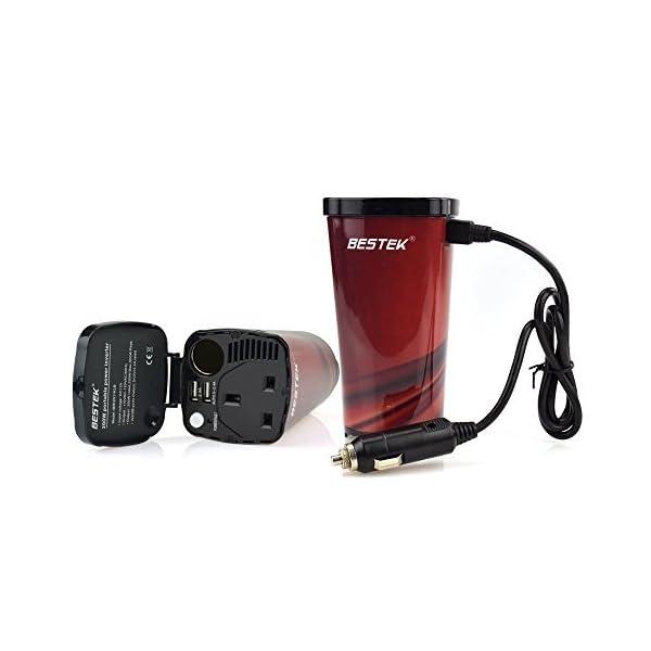 BESTEK 200W Power Inverter DC 12V to AC 230V 240V 3-in-1 Car Charger Cigarette Lighter Socket + AC Plug + Dual USB Charging Ports Voltage Converter 2