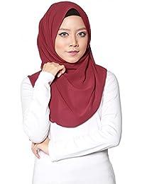 SAFIYA–Hijab islámico para mujer Voilées I pañuelo vela turbante bufanda Pashmina chal islámica I muselina de seda i Burdeos–75x 180cm
