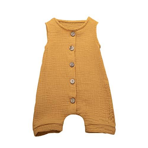 Sanahy Sommer Neugeborenen Baby Mädchen Jungs Einfarbig Strampler Ärmellos Leinen Body Strampler Overall Jumpsuit Babykleidung