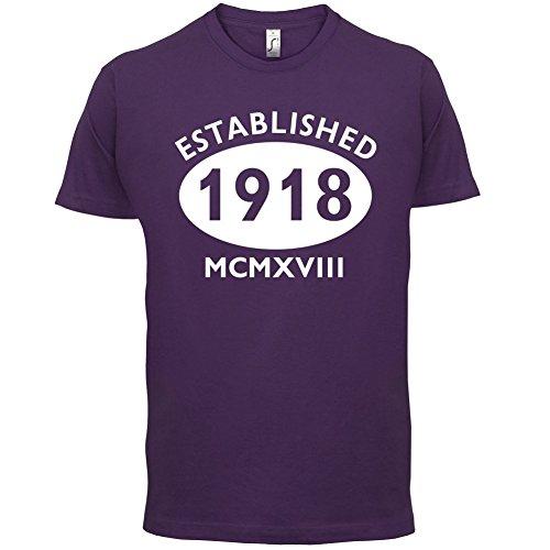Gegründet 1918 Römische Ziffern - 99 Geburtstag - Herren T-Shirt - 13 Farben Lila