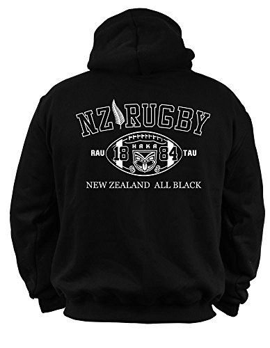 Dirty Ray Rugby New Zealand All Black sudadera hombre con capucha B2 (XL)
