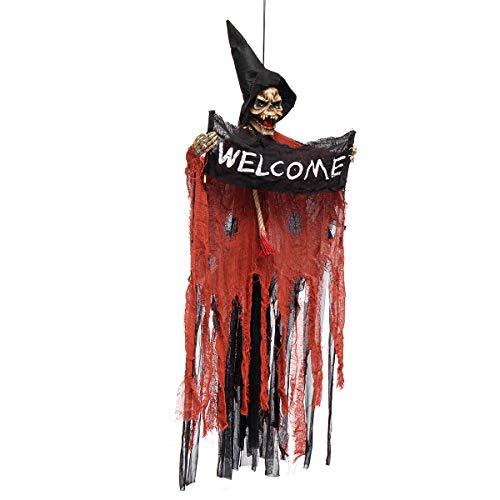 Bluelover Halloween Tools Scary Willkommensschild Hängen Skelett Stimme Lichter Augen Für Halloween Dekorationen - Rot