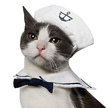 Freebily 2 Pcs Déguisement Animal Chat Chien Vêtements de Marin Matelot Jeu de Rôle Cosplay Costume Cape avec Chapeau pour Animal Chiot Chat Tenue