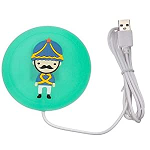 CONNECTWIDE USB Gadget Cartoon Printed Insulation Electric Warmer Silicone Mat Cute Silicone USB Power Supply Tea Coffee Milk Cup Mug Bottle Warmer Mat Pad Coaster (9.5 x 9.5 x 0.5 cm) (1, Green)