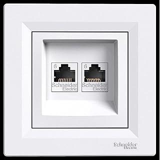 asfora–ISDN Dose Cat62x RJ45, Steckdose, Komplett, Schneider Electric, weiß, NEU