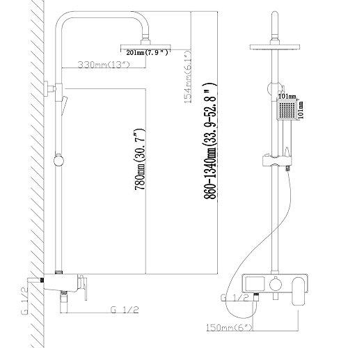 Homelody – Duschsystem mit LCD-Anzeige für Wassertemperatur und Zeit, Chrom - 7