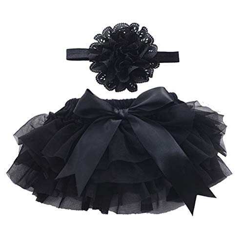 Kleidung Kostüm Schwarz Mit - BESTOYARD Baby Rock Tutu Kleidung mit Blumen Stirnband Mädchen Neugeborenes Kostüm Fotografie Requisiten Größe S (Schwarz)