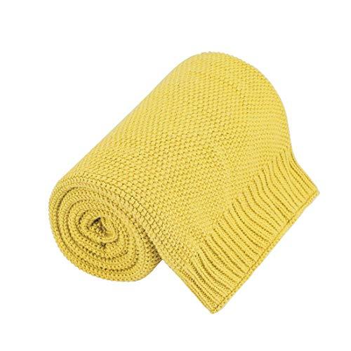 PICCOCASA 100% Baumwolle Stricküberwurfdecke - Soft Fest Dekorative Gestrickte Decke für Sofa-Couch Schlafzimmer Gelb 30