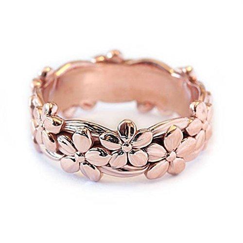 lnlyin Retro Rose Gold Blumen Ringe für Mother 's Day Gifts Plum Blossom Finger Ringe Schmuck Jahrestag Ring, Kupfer, rose gold, 6 -