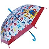 MARUKATSU Paw Patrol Chase Marshall Rubble - Paraguas para niños (70 cm), Color Azul y Rojo