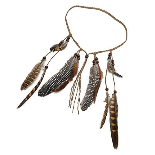 Vintage Boho Stirnband Geflochtene Seil Kopfbedeckungen, Federform-Quastenstirnband (Indische Stammes Kostüme)