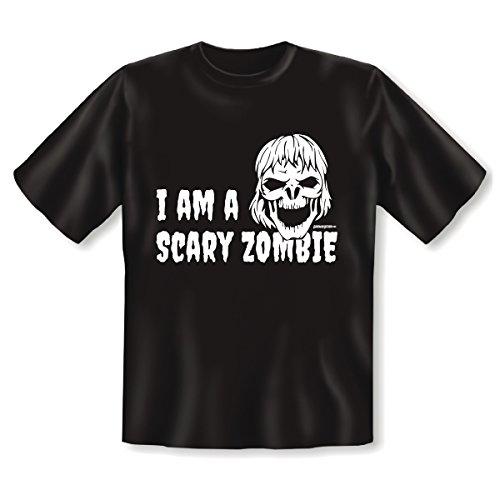 Goodman Design, Farbe: schwarz Halloween : I AM A SCARY ZOMBIE mit Motiv : Totenschädel mit langem Haar Schwarz