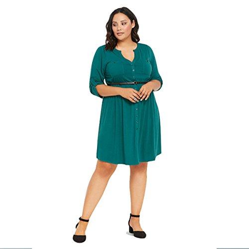 DD UP Mode Tunique Femme Mini Robe casual à Manches courtes Oui Ceinture green