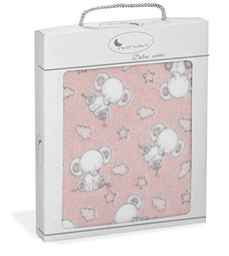 Manta Capazo, minicuna o Coche Extrasuave Elefantes Rosa - 110 x 80...