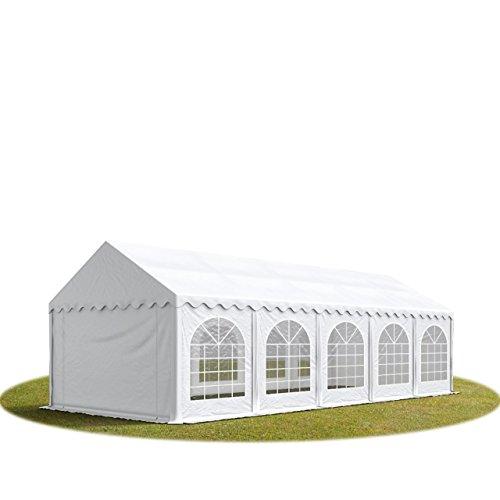 TOOLPORT Tente Barnum de Réception 4x10 m ignifugee Premium Bâches Amovibles PVC 500 g/m² Blanc Cadre de Sol Jardin INTENT24