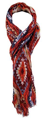 TigerTie Designer Schal in rot blutorange bordeaux blau grau braun gemustert - Gr. 180 x 50 cm Designer-schal