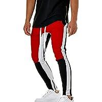Rera Homme Pantalon Crayon Survêtement Fitness Hip Hop Européen Colorblock  Bandes Latérales Elastiques Pants Patchwork Rap 3df4212ce3d