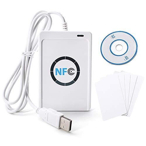 TOPINCN Lecteur Carte ID Carte RFID NFC ACR122U ISO14443 A/B - Lecteur/graveur Intelligente Contactless pour sécurité de Maison, uffficio