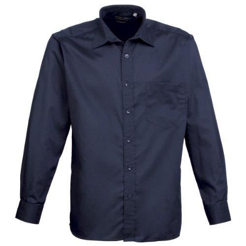 Premier Herren Business Gastfreundschaft barwear Lange Ärmel Popeline Shirt Blau - Navy
