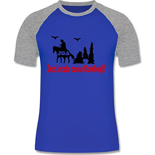 JGA Junggesellenabschied - Der letzte coole Cowboy - zweifarbiges Baseballshirt für Männer Royalblau/Grau meliert
