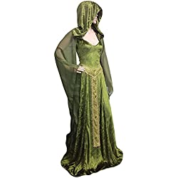 lancoszp Vestido Maxi Manga Larga Victoriana Medieval con Capucha Vestido de Corte Bajo de Halloween Renaissance, S