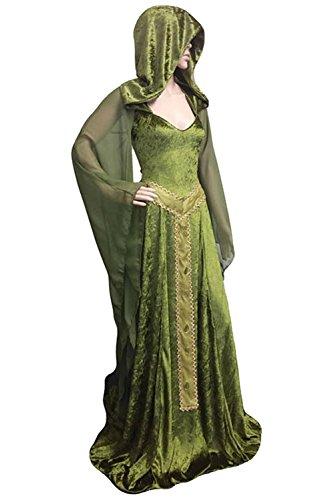 (Smileshop Mittelalter Kostüm mittelalterlichen Adels Palast Prinzessin Kleid mit Kapuzen, Langarm V-Ausschnitt Halloween Gothic Viktorianischen Königin Kostüm Grün L)