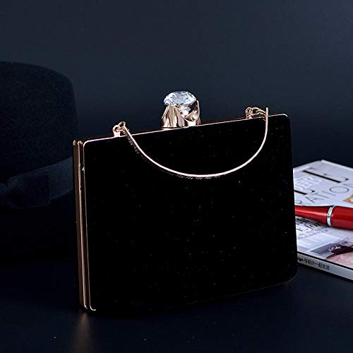 MNLSWYB Damen Clutch ,Vintage Samttasche mit Windnieten, schwarz Abendtasche Elegante Handtasche (Clutch Gefütterte Vintage)