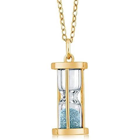 18 K chapado en oro plateado Reloj de arena lámpara de techo colgante con aguamarina Natural polvo 45,72 cm