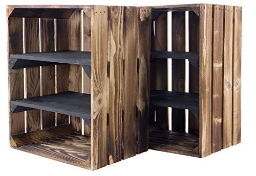 moooble Sparpaket geflammte/flammbierte Holzkiste mit 2 Mittelbrettern Quer Schwarz 50cm x 40cm x 30cm Kiste Schuhregal(2er Set) -