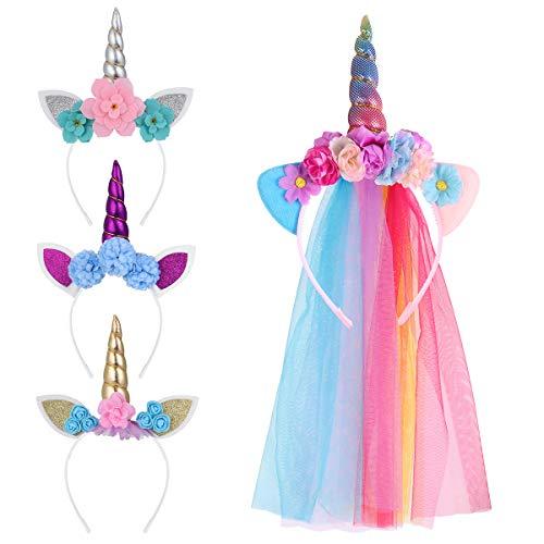 Lurrose Einhorn-Stirnband für Mädchen und Erwachsene, Tüll, Einhorn-Kostüm, 4 Stück