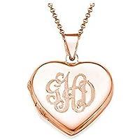 Personalizzato Monogram Collana con medaglione a forma di cuore - Monogram Cuore
