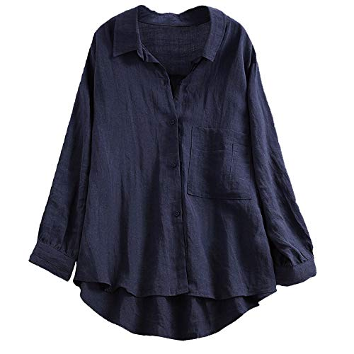 XNBZW Tops Women's Casual Cotton Linen Blouse High Low Shirt Long Sleeve Tops Daily Loose Linen Soild Button Solid Blouse Tops Embellished Sundress