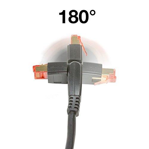 BIGtec Premium 3m CAT.5e 180° gewinkelt Ethernet LAN Patchkabel Gigabit Netzwerkkabel Patch Kabel schwarz folien und geflechtgeschirmt vergoldet (RJ45, Cat 5e, SFTP doppelt geschirmt , Screened Foile