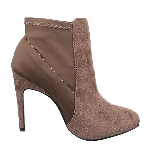 Damen Schuhe, 62191, STIEFELETTEN HIGH HEELS BOOTS Hellbraun