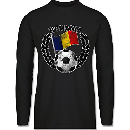 Shirtracer Fußball - Romania Flagge & Fußball Vintage - Herren Langarmshirt Schwarz