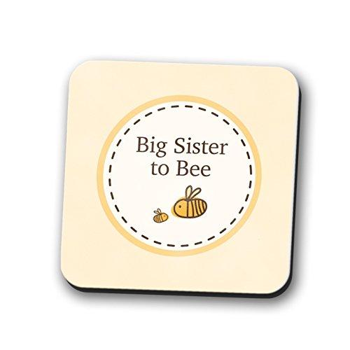 Big Sister to be Untersetzer Tischset New Baby Dusche Geschenk Bumble Bee 9cm x 9cm