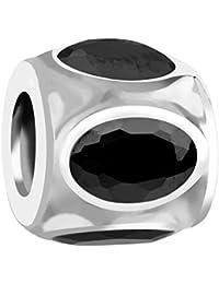 Nena Lina Cubic circonios Bead negro en plata de ley 925, también compatible con Pandora pulseras, 718031-027