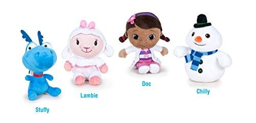 Doc McStuffins, Spielzeugärztin - Pack 4 plüsch Qualität super soft - Schneemann 17cm + Schaf 16cm + Dragon 16cm + Doc das Mädchen 16cm (R.22870T)