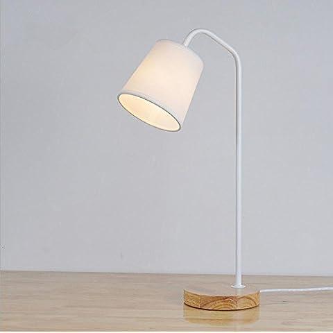 E14 Lampada ferro legno scrivania minimalista moderna camera da letto