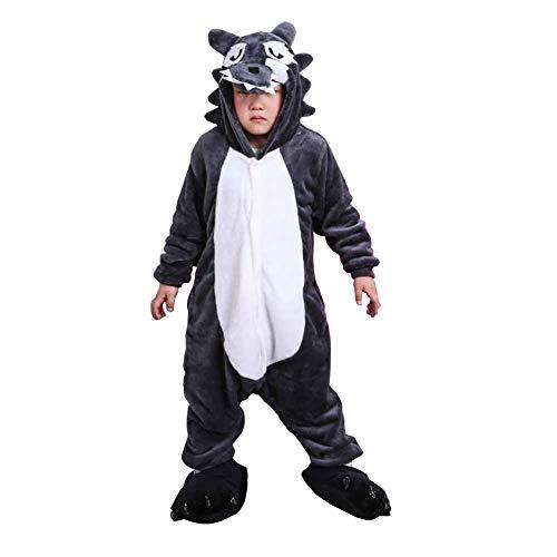Kinder Kostüme Tier Tieroutfit Cosplay Jumpsuit Schlafanzug Grauer Wolf