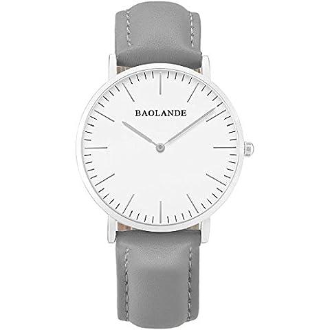 Alienwork Classic St.Mawes Reloj cuarzo elegante cuarzo moda diseño atemporal clásico Piel de vaca plata gris