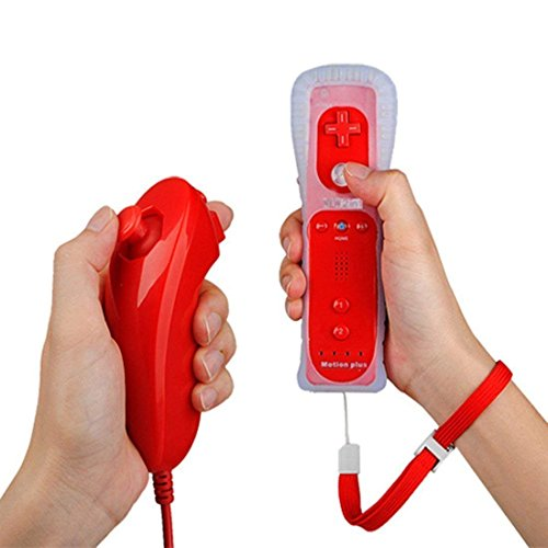 PowerLead Wii Remote Controller con Motion Plus Integrato e Nunchuck Rossi + Custodia in Silicone (Rossi)
