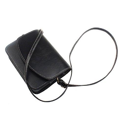 Retro Umhaengetasche - SODIAL(R) Damen Kunstleder Retro Umhaengetasche Tasche (dunkelblau) schwarz