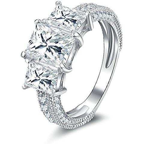(Personalizzati Anelli)Adisaer Anelli Donna Argento 925 Anello Fidanzamento Incisione Gratuita Geometric Anello Diamante