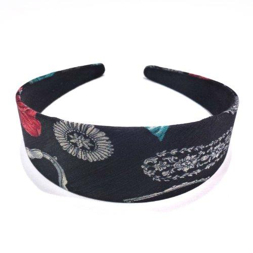 rougecaramel - accessoires cheveux - Serre tête/headband large imprimé - noir