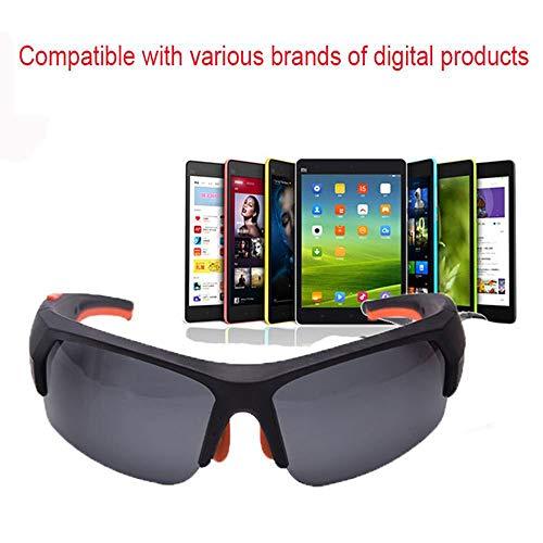 YDYJZN Wireless Bluetooth Sonnenbrille Stereo Kopfhörer Digital Brillen mit Musik MP3-Player Musik Kopfhörer mit Kamera-Funktion für iPhone 7 Android Smartphones und alle Geräte mit Bluetooth