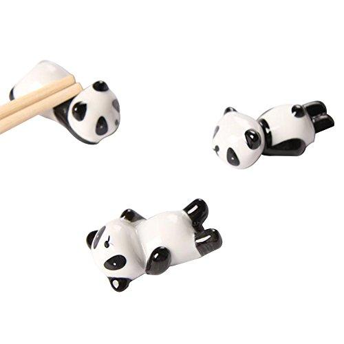 VI. Yo 3Cute Panda Keramik Essstäbchen Halter Rest Ständer Rack für Gabel Löffel Essstäbchen Geschirr Ornament Dekoration -