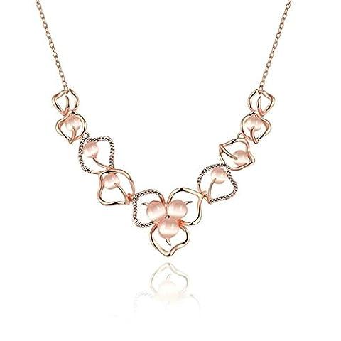 Knsam Collier Femme Plaqué Argent Bijoux Fantaisie, WoHomme Plum Blossom Or Rose Charm Necklace For Girls