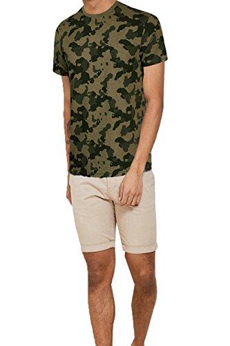 Threadbare Herren Blusen T-Shirt grün grün Khaki Camo - Green